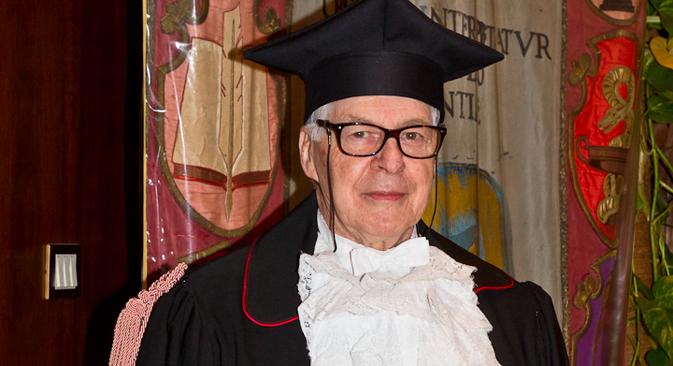 Il traduttore e critico russo Evgenij Solonovich nel giorno della laurea honoris causa all'Università La Sapienza di Roma (Foto: Maria Grazia Gueli / Università La Sapienza)