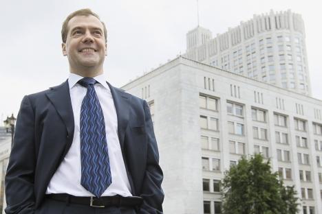 Il primo ministro russo Dmitri Medvedev fa un bilancio del suo anno alla Casa Bianca (Foto: Reuters)