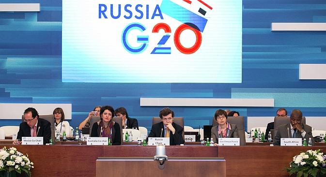 """Il vertice del G20 offre alla Russia sia sfide che opportunità. Nella foto: i partecipanti alla Conferenza sulla Presidenza russa nel G20 per """"promuovere la crescita economica e la sostenibilità"""", tenutasi il 28 febbraio 2013 (Fonte: G20)"""