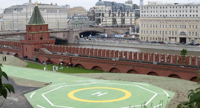 L'eliporto realizzato all'interno delle mura del Cremlino di Mosca (Foto: Ap)