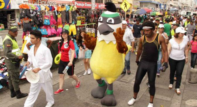 Al centro, la mascotte dei Giochi mondiali 2013, a Cali, in Colombia (Foto: Ufficio Stampa/http://worldgames2013.com.co/en/)