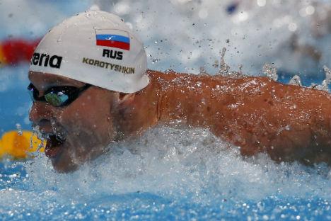 Yevgeny Korotyshkin during 100 butterfly stroke in Barcelona. Source:  AP