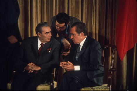Richard Nixon e Leonid Brezhnev il 20 luglio 1973 a Camp David (Foto: Getty Images/Fotobank)