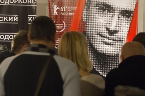 """Pubblico alla presentazione stampa del film documentario di Cyril Tuschi, """"Khodorkovsky"""", presso il Centro d'arte contemporanea Vinzavod (Foto: RIA Novosti / Vitaly Belousov )"""