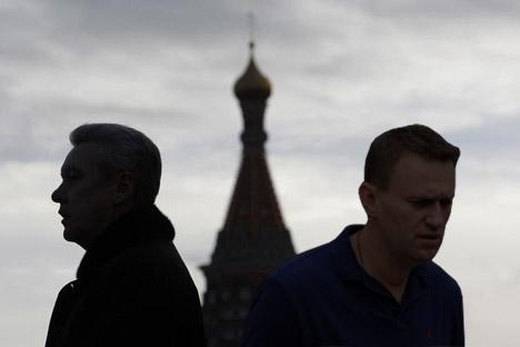 L'attuale primo cittadino di Mosca, Sergei Sobyanin (a sinistra), e l'esponente dell'opposizione Alexei Navalny, entrambi in corsa per la carica di sindaco (Foto: Reuters)