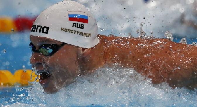 Evgeny Korotyshkin nei 100 metri farfalla maschili ai Mondiali di nuoto di Barcellona, il 2 agosto 2013 (Foto: Ap)