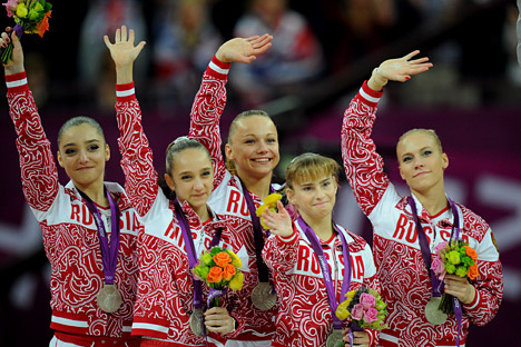 National artistic gymnastic at the podium of London 2012 Olympics. Source: ITAR-TASS