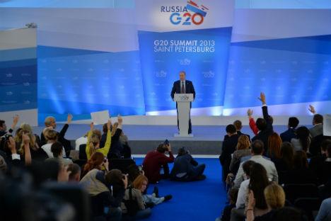 Vladimir Putin durante la conferenza stampa conclusiva al termine del G20 di San Pietroburgo (Foto: Ufficio Stampa)