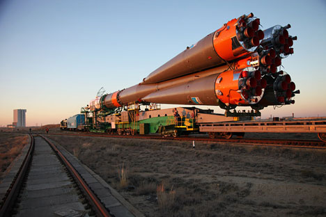 La navicella Soyuz TMA-10M prima del lancio del 25 settembre 2013 (Foto: AFP / East News)