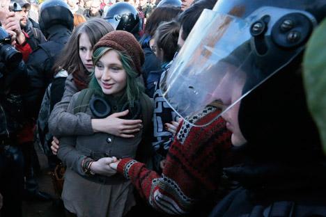 La manifestazione era stata organizzata per la Giornata internazionale del Coming Out, ma non si è svolta a causa delle contestazioni (Foto: AP)
