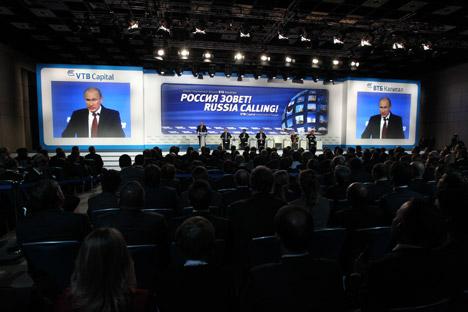 """In uno dei seminari del forum """"VTB Russia Calling!"""", focalizzato sui progressi economici della Russia rispetto al 2012 (Foto: Konstantin Zavrazhin / RG)"""
