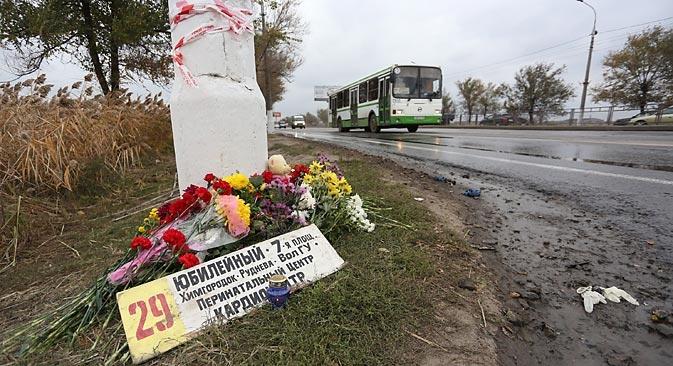 Il punto dell'attentato kamikaze al bus di Volgograd (Foto: Ria Novosti)