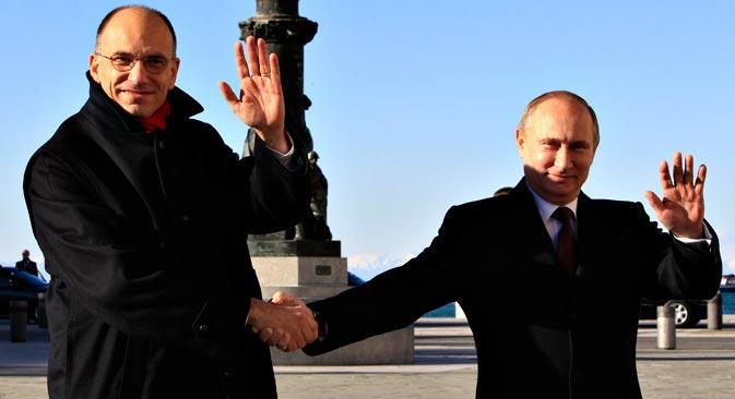 Enrico Letta e Vladimir Putin  a Trieste (Fonte: Reuters)