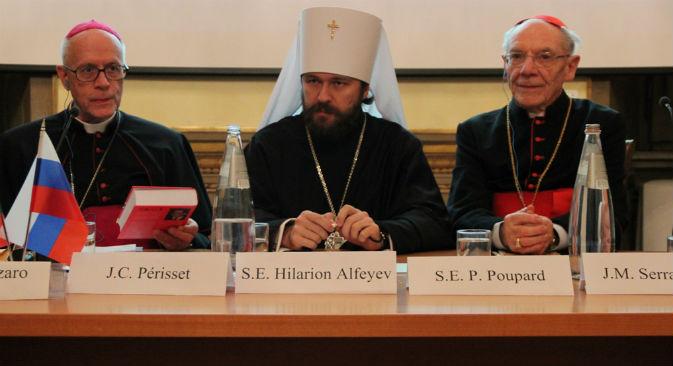 Il metropolita Hilarion con il cardinale Poupard (Fonte: Ufficio Stampa)