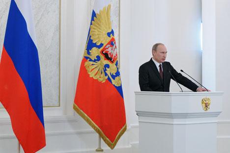 Il Presidente russo Vladimir Putin è intervenuto davanti all'Assemblea Federale per il consueto discorso di fine anno (Foto: Ria Novosti)