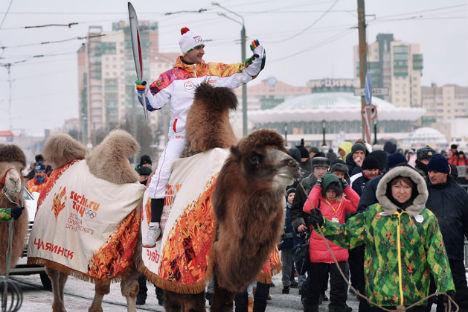 Il viaggio della torcia olimpica che precede l'inizio dei Giochi di Sochi (Foto: Ria Novosti)