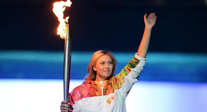 Maria Sharapova durante la fase finale della cerimonia (Foto: Ria Novosti)