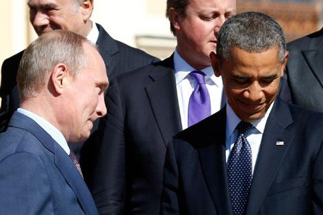 Il Presidente russo Vladimir Putin insieme al Presidente americano Barack Obama (Foto: Reuters)