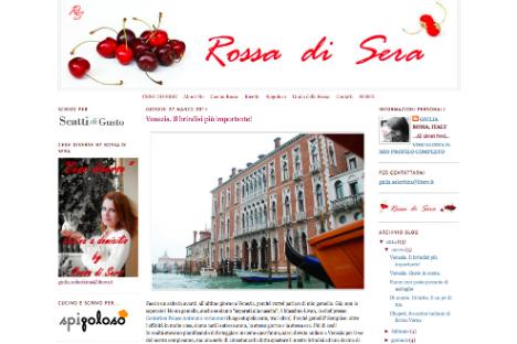 La home page del blog (Foto: www.rossa-di-sera.com)