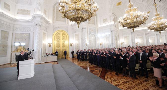 Vladimir Putin durante il suo intervento al Cremlino (Foto: Konstantin Zavrazhin / RG)