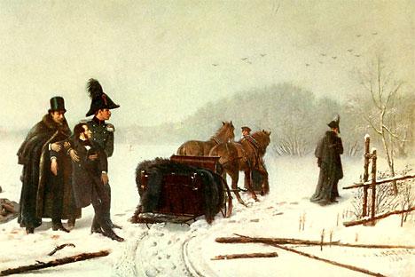 Nach dem Duell zwischen Alexander Puschkin und Baron  d'Anthès. Foto aus den freien Quellen