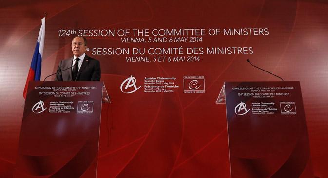 Il ministro degli Esteri della Federazione Russa, Sergei Lavrov, intervenuto alla 124esima seduta del Comitato dei Ministri del Consiglio d'Europa (Foto: Reuters)