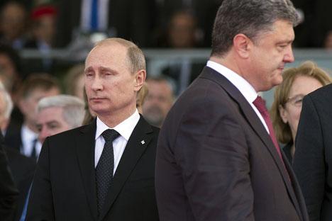 L'incontro tra Putin e il neoletto presidente ucraino Petro Poroshenko è servito ad assumere l'impegno di una ricerca per la soluzione della crisi (Foto: Ria Novosti)