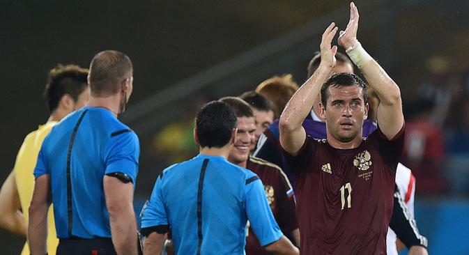 Aleksandr Kerzhakov durante l'incontro Russia-Corea Del Sud (Foto di Aleksandr Vilf / Ria Novosti)