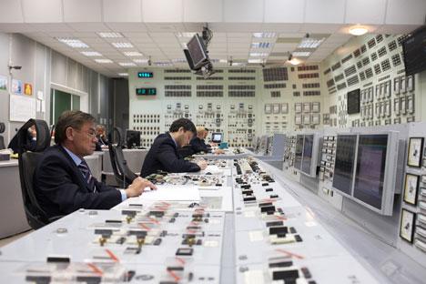 Il pannello di controllo a blocchi del gruppo elettrogeno N. 3 con il reattore BN-600, nella centrale elettronucleare di Belojarsk (Foto: ufficio stampa)