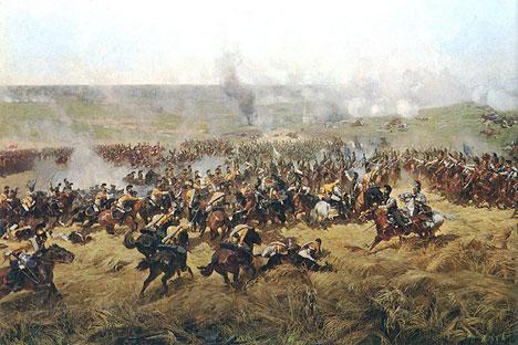 """Un dettaglio della Battaglia di Borodino, quadro di Franz Roubaud. Questa battaglia venne minuziosamente descritta da Lev Tolstoj in """"Guerra e Pace"""" (Fonte libera)"""