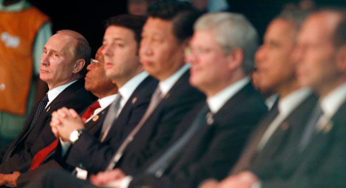 I leader mondiali al G20 di Brisbane. In fondo a sinistra, il Presidente russo Vladimir Putin (Foto: Reuters)