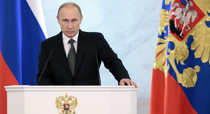 Il Presidente russo Vladimir Putin durante il tradizionale messaggio di fine anno all'Assemblea Federale, le Camere riunite del Parlamento (Foto: Mikhail Mettsel / Tass)