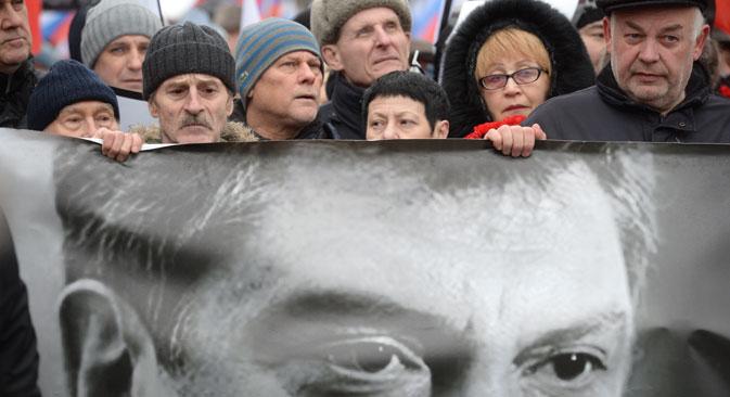Russos protestam após assassinato de líder oposionista Foto: Kirill Kalínnikov/RIA Nóvosti