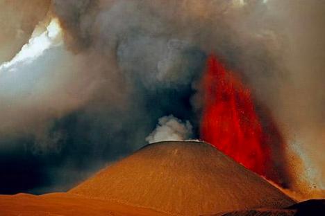 Vulkan Tolbačik na Kamčatki.