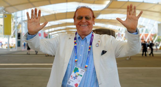 Renzo Arbore all'Expo di Milano, prima di partire alla volta di Mosca (Foto: ufficio stampa Expo)