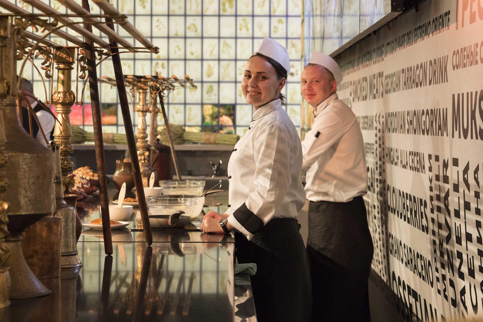 La cucina a vista del Padiglione Russia dell'Expo (Foto: Russia Expo 2015)