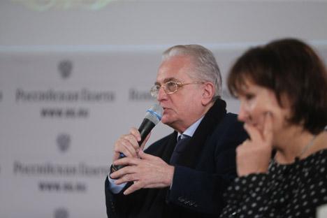 Mikhail Piotrovsky, direttore del Museo Statale dell'Ermitage di San Pietroburgo, nella sede di Rossiskaya Gazeta