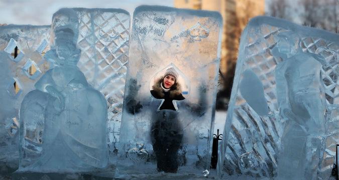 Sculture di ghiaccio a Tomsk.