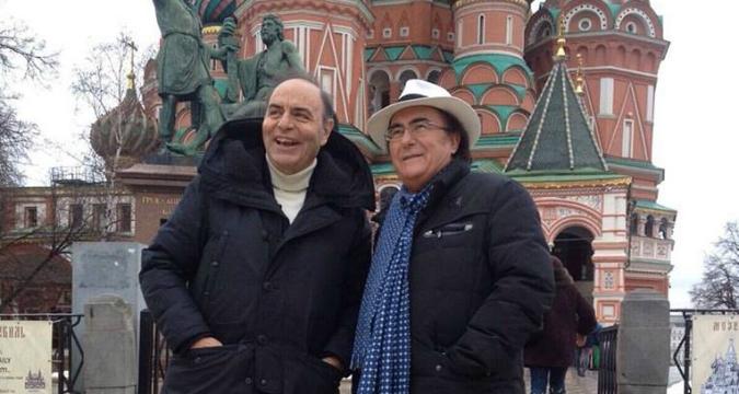 Bruno Vespa e Al Bano in Piazza Rossa a Mosca.