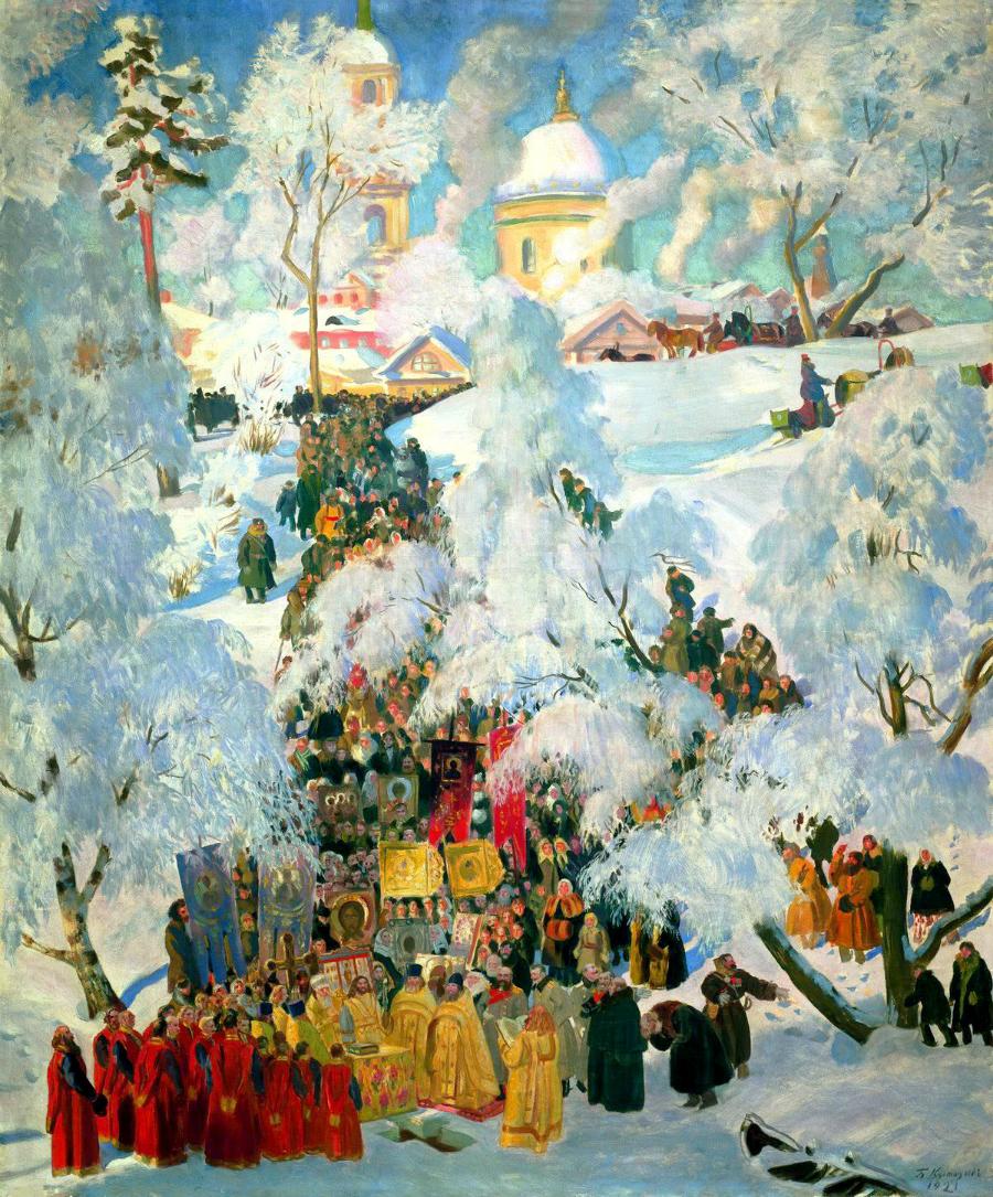 """Boris Kustodiev, """"Inverno. La consacrazione dell'acqua durante l'Epifania"""", (1921)"""