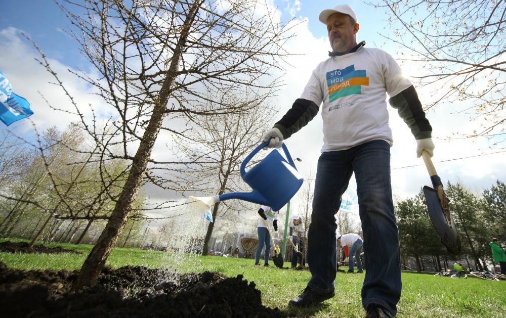 Volontari al lavoro in un parco cittadino.