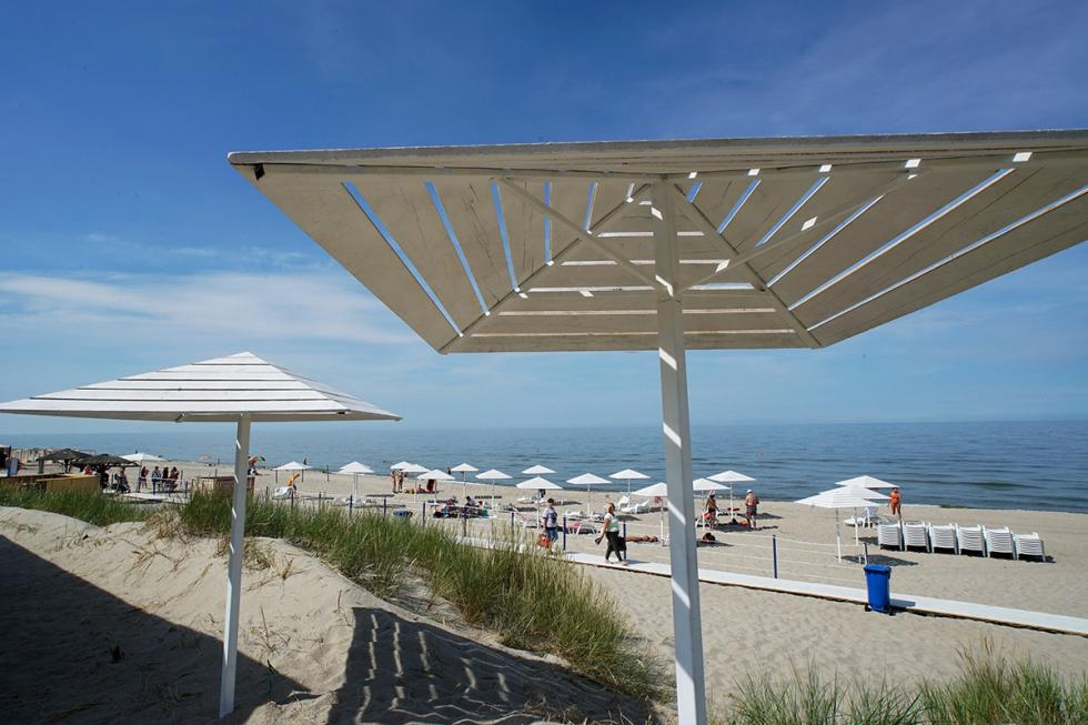 La spiaggia di Yantarnij, località marittima affacciata sul Mar Baltico, a circa 50 chilometri da Kaliningrad.