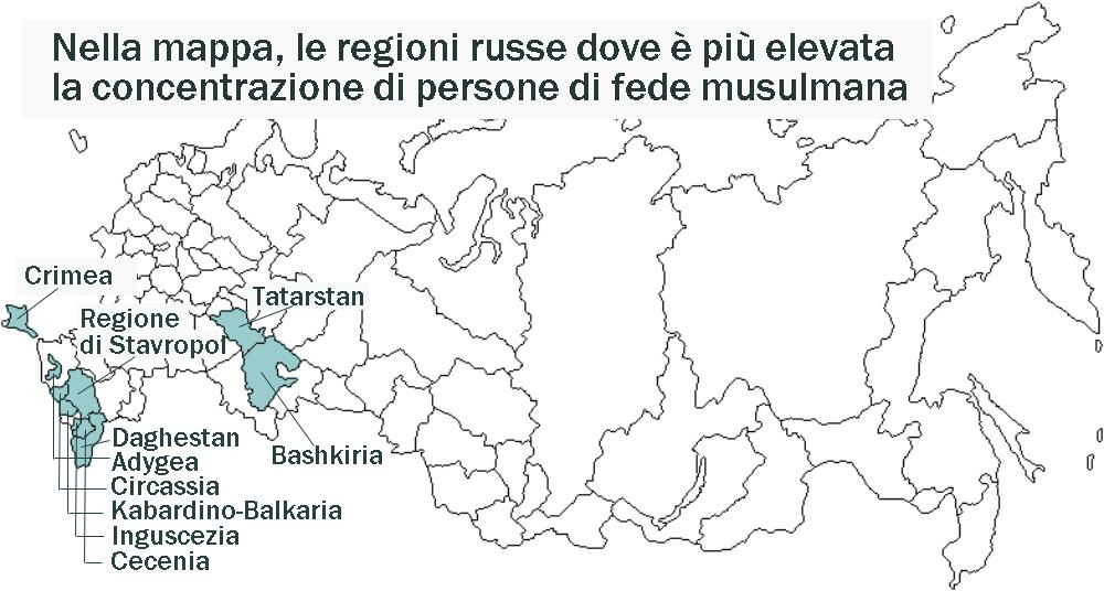 I musulmani russi vivono in regioni come Bashkiria, Tatarstan, Crimea, nelle Repubbliche del Caucaso del Nord, Circassia, Inguscezia, Cecenia, Daghestan, e Kabardino-Balkaria, le regioni orientali della Regione di Stavropol, Adygea. Fonte: Rbth