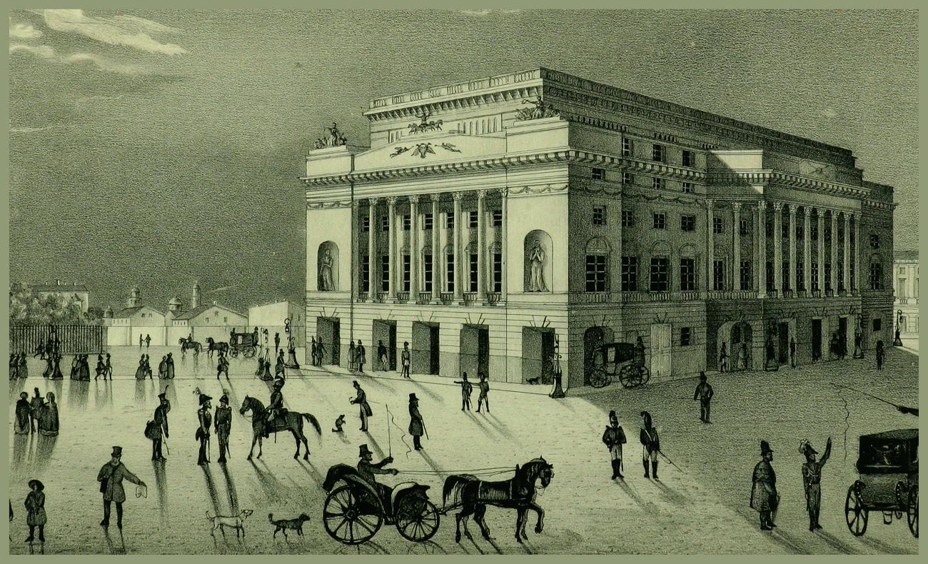 Il teatro Aleksandrinskij su una litografia degli anni 1840. Fonte: ufficio stampa