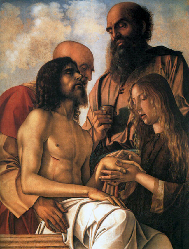 """""""Compianto su Cristo morto"""" (""""Pala di Pesaro"""") di Giovanni Bellini, 1474, olio su tavola, Pinacoteca Vaticana, Città del Vaticano, Roma."""