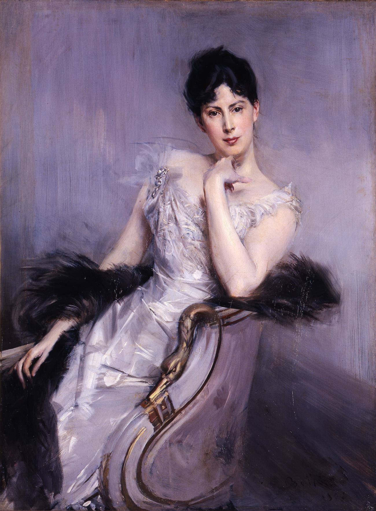 Ritratto di Alaide Banti in abito bianco. Giovanni Goldini. Fonte: Ufficio stampa Ermitage