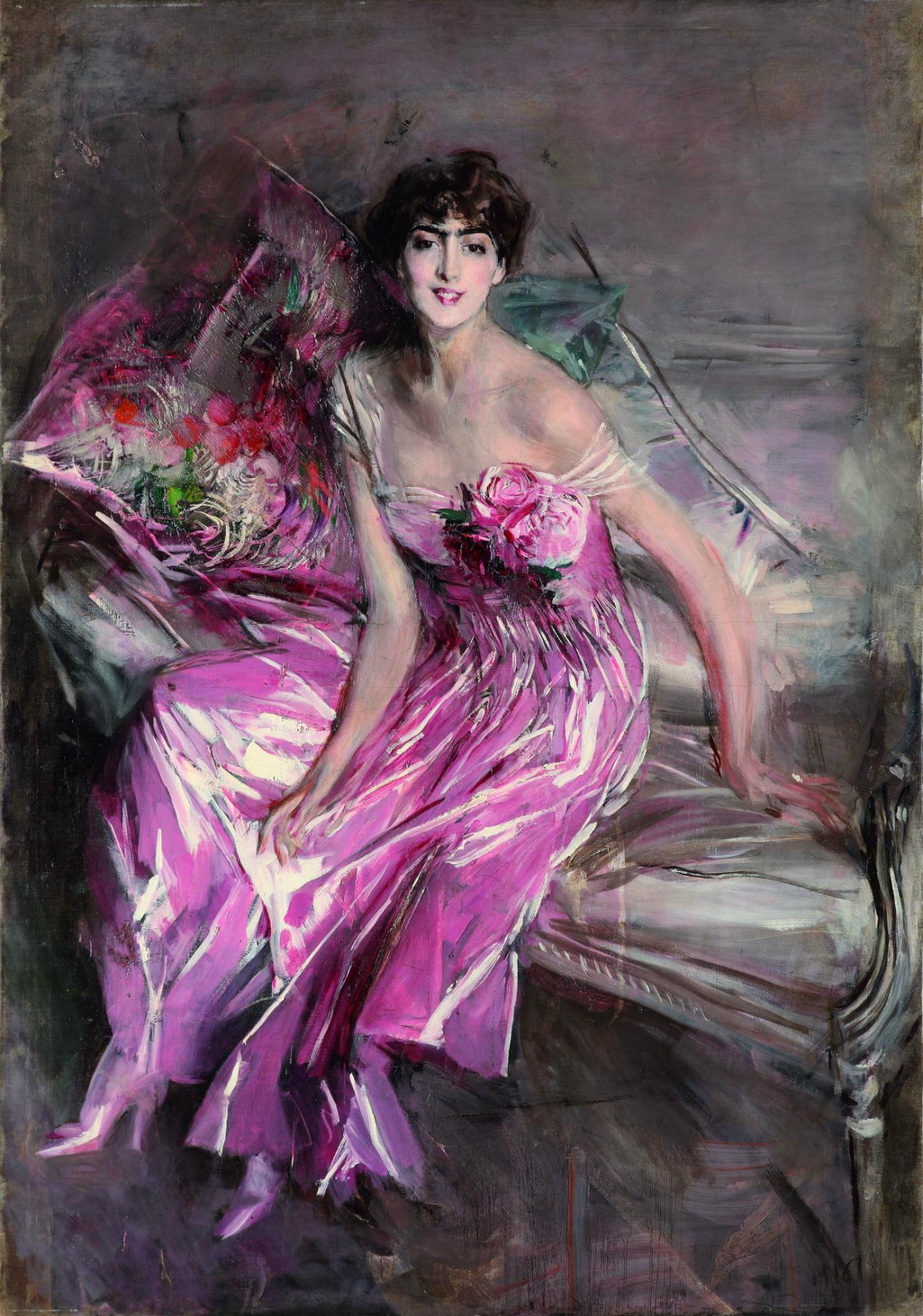 Дама в розовом (Портрет Оливии де Суберказо Конча). 1916. © Музей Джованни Больдини, Феррара