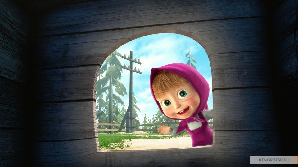 """Un frame del cartone animato """"Masha e Orso""""."""