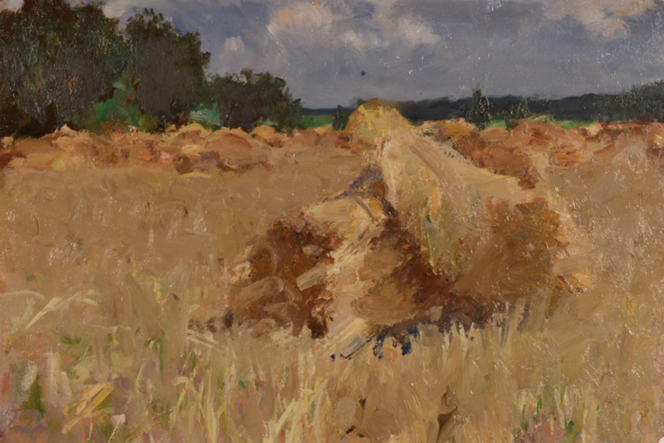 Fyodr P. Malaev, Paesaggio con covoni, 1949. Fonte: ufficio stampa