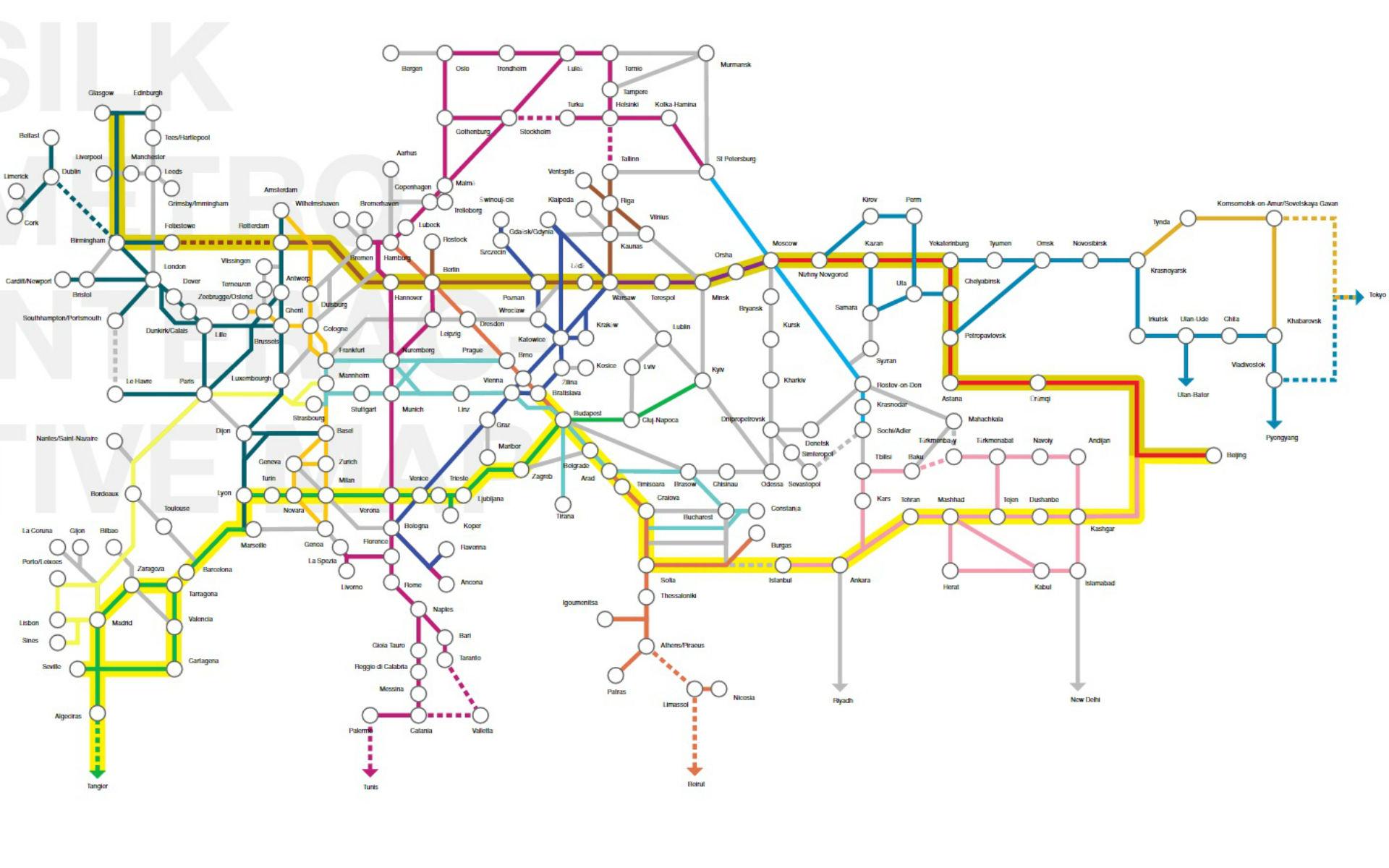 La mappa del futuro collegamento ferroviario tra Europa e Asia. Fonte: mir-initiative.com